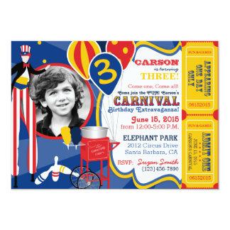 Carnival Circus Juggling Stilt Walkers Birthday 5x7 Paper Invitation Card