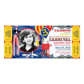 Carnival Circus Stilt Walker Birthday 4x9.25 Paper Invitation Card