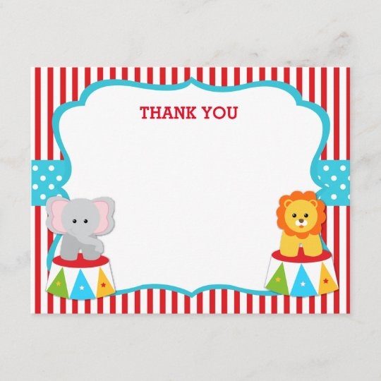 Carnival Circus Thank You Notes Cards Zazzle Com