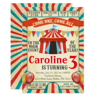 Circus Invitations Announcements Zazzle - Birthday invitation cards circus