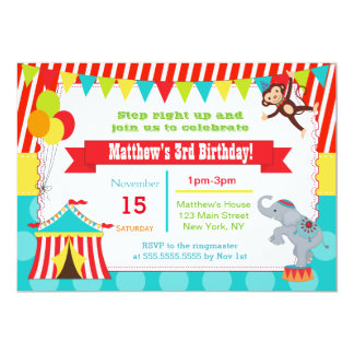 Carnival Circus Ticket Birthday Party Invitations