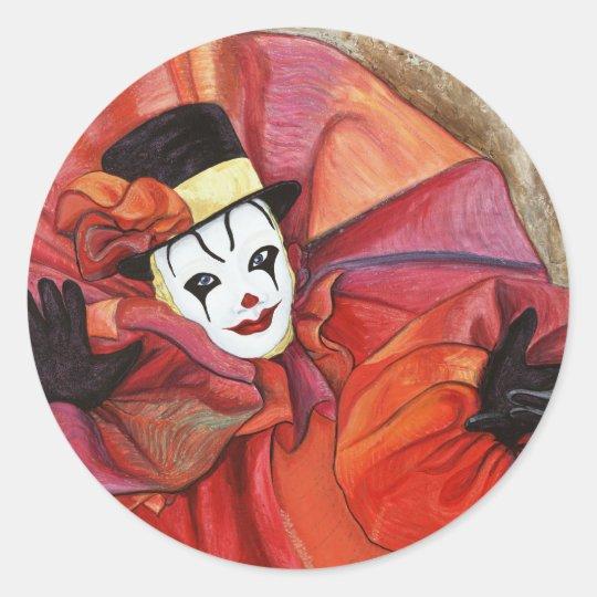 Carnival Clown Classic Round Sticker