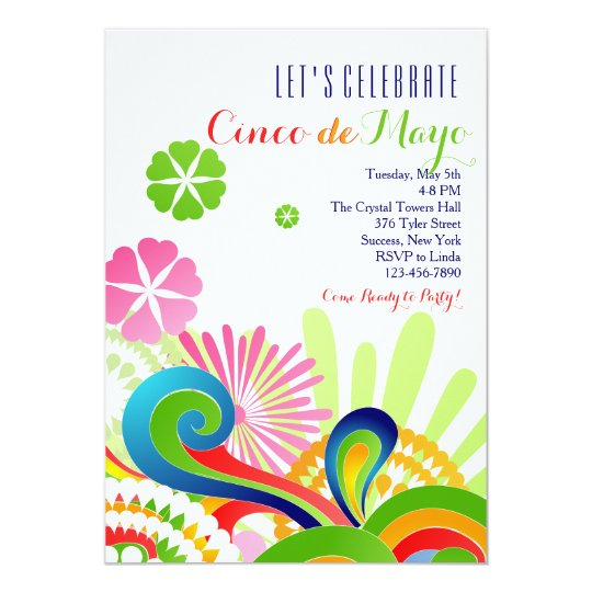 carnival colors cinco de mayo invitation zazzle com