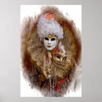 Carnival Costume Portrait, Venice Poster