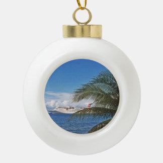 Carnival cruise ship docked at Grand Cayman Ceramic Ball Christmas Ornament