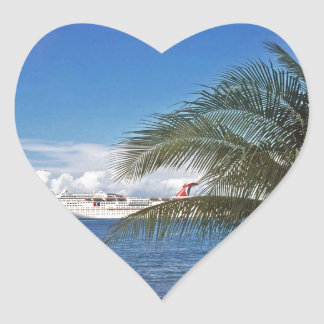 Carnival cruise ship docked at Grand Cayman Heart Sticker