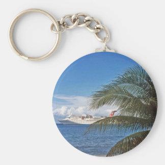 Carnival cruise ship docked at Grand Cayman Island Basic Round Button Keychain