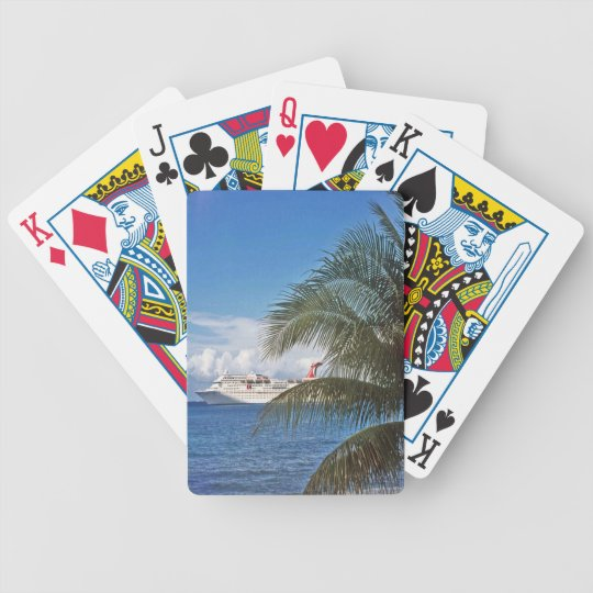 Carnival cruise ship docked at Grand Cayman Island Bicycle Playing Cards