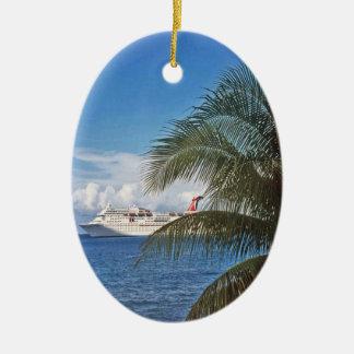 Carnival cruise ship docked at Grand Cayman Island Ceramic Ornament