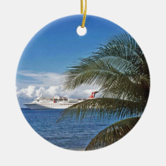 Carnival cruise ship docked at Grand Cayman Island Ceramic Ornament