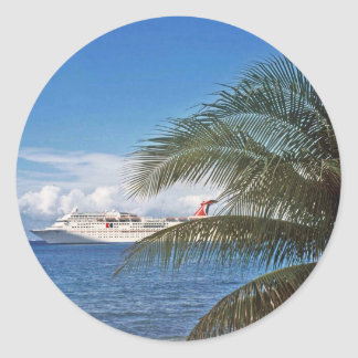 Carnival cruise ship docked at Grand Cayman Island Classic Round Sticker