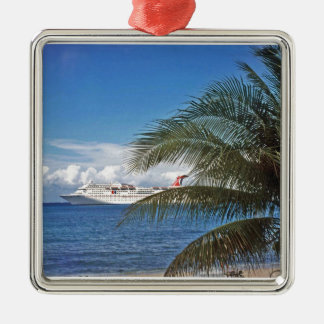 Carnival cruise ship docked at Grand Cayman Island Square Metal Christmas Ornament