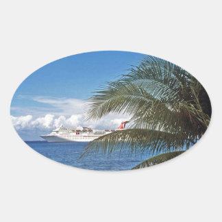 Carnival cruise ship docked at Grand Cayman Island Oval Sticker