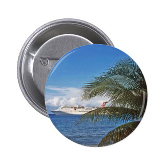 Carnival cruise ship docked at Grand Cayman Island Pinback Button