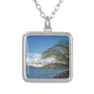 Carnival cruise ship docked at Grand Cayman Island Silver Plated Necklace