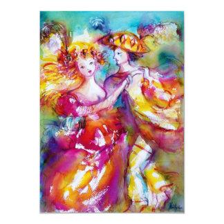 CARNIVAL DANCE 2, vibrant pink blue 5x7 Paper Invitation Card