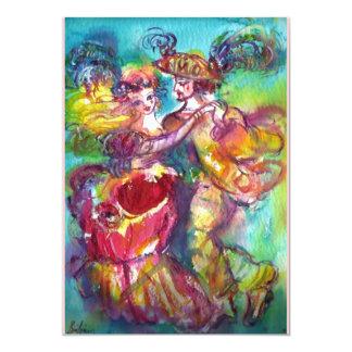 CARNIVAL DANCE,Mardi Gras Party, vibrant pink blue 5x7 Paper Invitation Card
