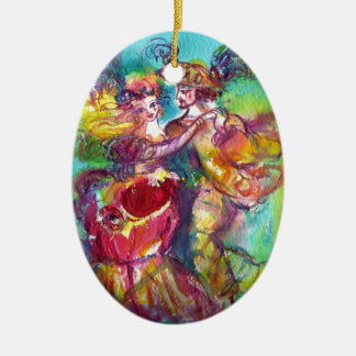 CARNIVAL DANCE Double-Sided OVAL CERAMIC CHRISTMAS ORNAMENT