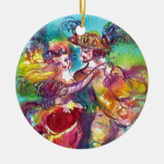 CARNIVAL DANCE Double-Sided CERAMIC ROUND CHRISTMAS ORNAMENT