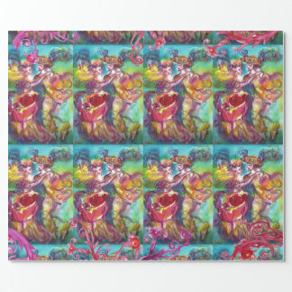 CARNIVAL DANCE,RED PURPLE FLORAL SWIRLS WRAPPING PAPER