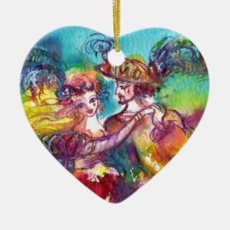 CARNIVAL DANCE  RED RUBY HEART CERAMIC ORNAMENT
