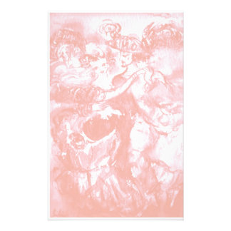 CARNIVAL DANCE ,soft antique pink white Stationery