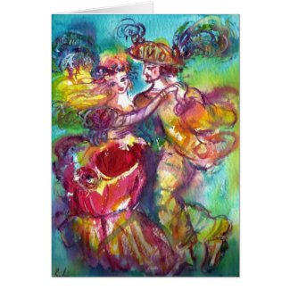 CARNIVAL DANCE / Venetian Masquerade Ball Greeting Card