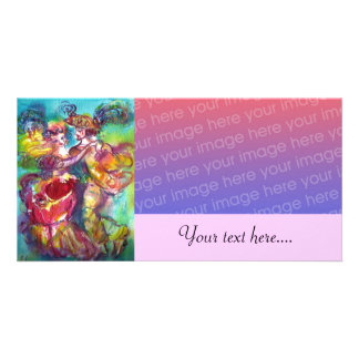 CARNIVAL DANCE Venetian Masquerade Ball,pink Picture Card