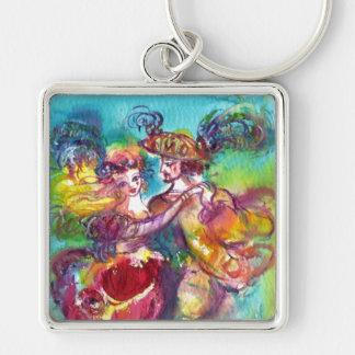 CARNIVAL DANCE Venetian Masquerade Ball Silver-Colored Square Keychain