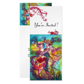 CARNIVAL DANCE vibrant blue red flourish champagne Card