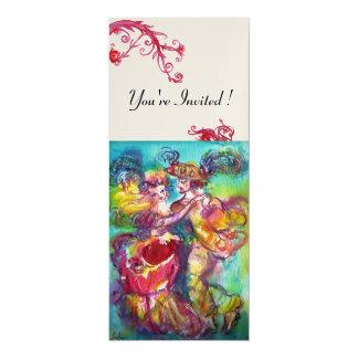 CARNIVAL DANCE vibrant blue red flourish gold Card
