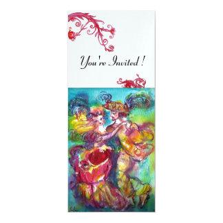CARNIVAL DANCE vibrant blue red flourish 4x9.25 Paper Invitation Card