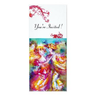 CARNIVAL DANCE vibrant blue red flourish white 4x9.25 Paper Invitation Card