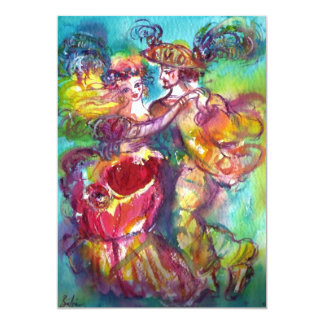 CARNIVAL DANCE , vibrant blue yellow pink rose 5x7 Paper Invitation Card