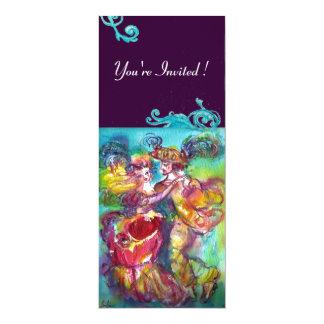 CARNIVAL DANCE , vibrant pink blue flourishes 4x9.25 Paper Invitation Card