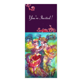 CARNIVAL DANCE , vibrant pink blue red flourishes 4x9.25 Paper Invitation Card