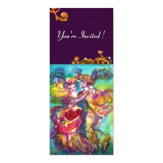 CARNIVAL DANCE , vibrant pink blue yellow flourish 4x9.25 Paper Invitation Card