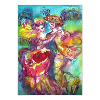 CARNIVAL DANCE , vibrant pink blue yellow sparkles 5x7 Paper Invitation Card