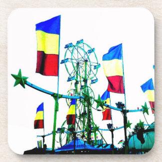Carnival Fair Ferris Wheel Flag Abstract Art Photo Coasters