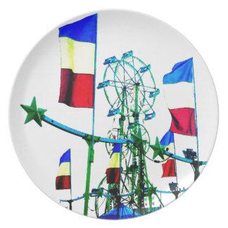 Carnival Fair Ferris Wheel Ride Flag Pop Art Photo Plate
