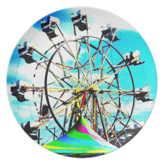 Carnival Fair Ferris Wheel Ride Pop Art Photo Dinner Plate