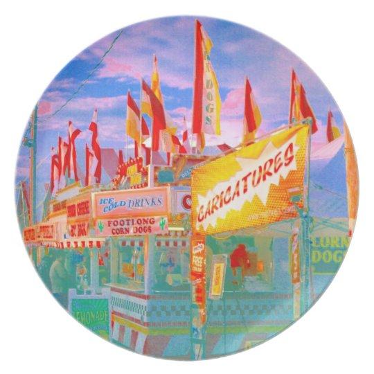 Carnival Fair Midway Food Flags Pop Art Photo Melamine Plate