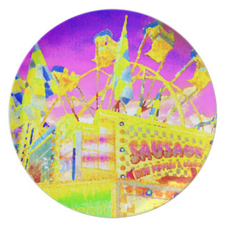 Carnival Fair Midway Food Flags Pop Art Photo Party Plate