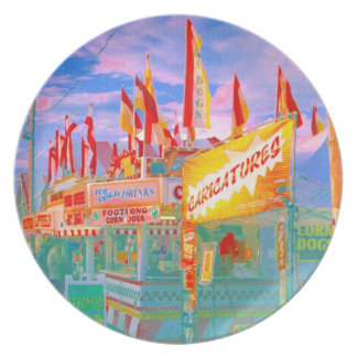 Carnival Fair Midway Food Flags Pop Art Photo Party Plates