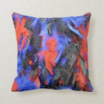 Carnival feathers boa in red blue and black throw pillows