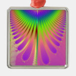 Carnival Feathers Square Metal Christmas Ornament