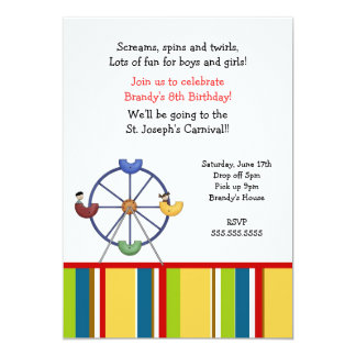 Carnival Ferris Wheel Birthday party invitation
