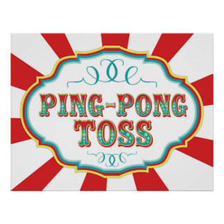 Carnival Game Sign Ping Pong Toss