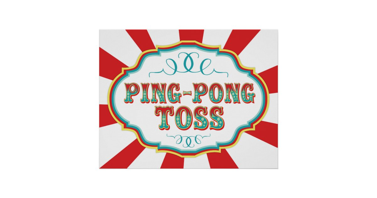 Carnival Game Sign Ping Pong Toss Poster | Zazzle