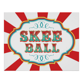 Carnival Game Sign Skee Ball Poster